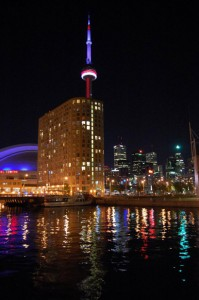 View of downtown Toronto at night from Toronto's only Boat Bed and Breakfast