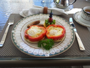 Eggs fried in peppers