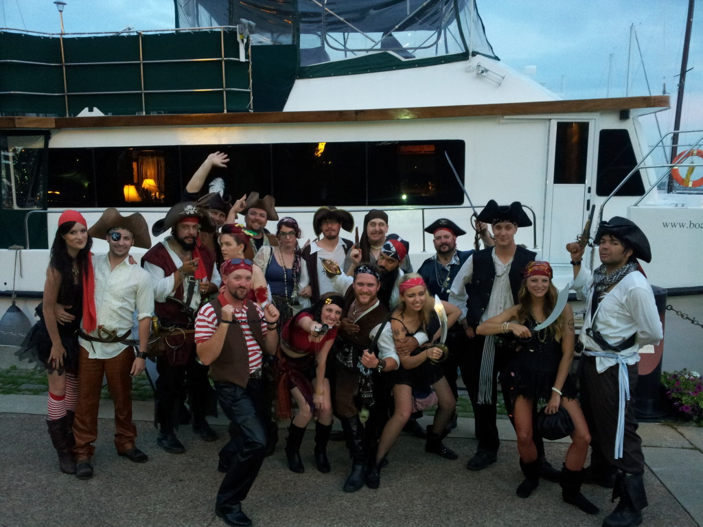 Pirates in front of the Boatel