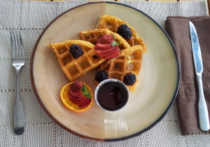 gluten free waffles and fresh fruit