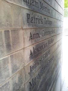 Names etched in stone on the wall in Ireland Park