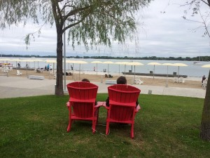 Red muskoka chair