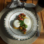 Poached eggs on polenta with salsa